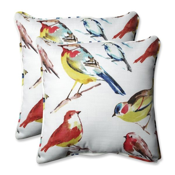 Pillow Perfect Outdoor/ Indoor Bird Watchers Summer 18.5-inch Throw Pillow (Set of 2)