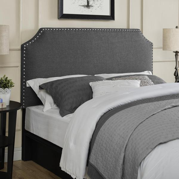 Dorel Living Upholstered Grey Headboard with Nailheads
