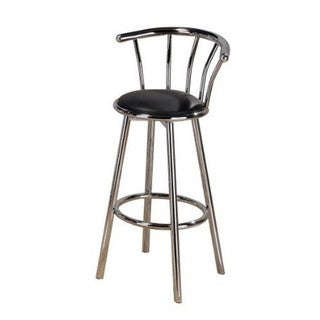 Hodedah Contemporary Faux Leather and Metal Counter Height Bar Stool