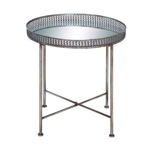 Compact Foldable Iron Accent Table with Mirrored Tabletop 19039835