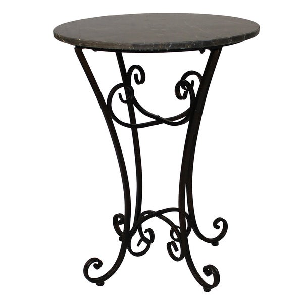 Urban Designs Elizabeth Grey Marble/Metal Round Accent Table