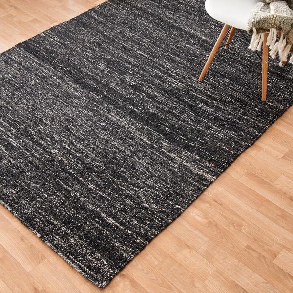 Flat-weave Maddox Black Viscose Rug (7'9 x 9'9)