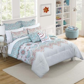 Vue Cordova Blue Print Reversible 7-piece Comforter Set