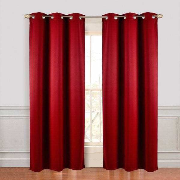 Microfiber Blackout Curtain Grey Panel Pair