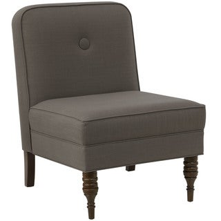 angelo:HOME Espresso/Slate Linen/Polyester/Polyurethane/Pine Button Accent Chair