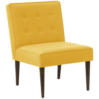 angelo:HOME Yellow Linen, Polyester, and Wood Button-tufted Chair