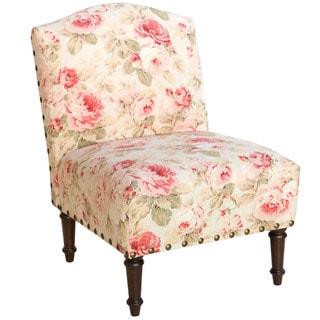 Skyline Furniture Queen Tea Rose/Espresso Cotton/Pine Big Nail Camel Back Chair