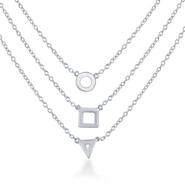 La Preciosa White Sterling Silver Triple-strand Triangle/Square/Circle Necklace