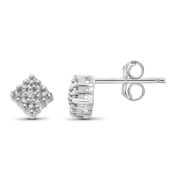 Jewelonfire Sterling Silver White Diamond Accent Sqaure Stud Earrings