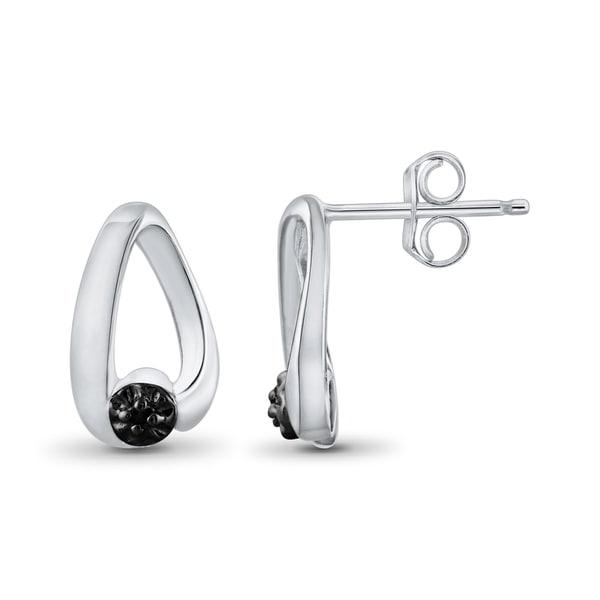 Jewelonfire Sterling Silver Black Diamond Accent Hoop Stud Earrings