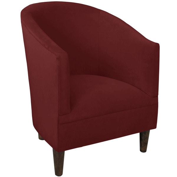 Skyline Furniture Berry Red Fabric and Wood Tub Chair