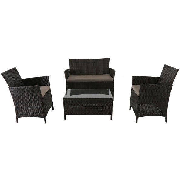 Cambridge Exton Black Wicker 4-piece Seating Set