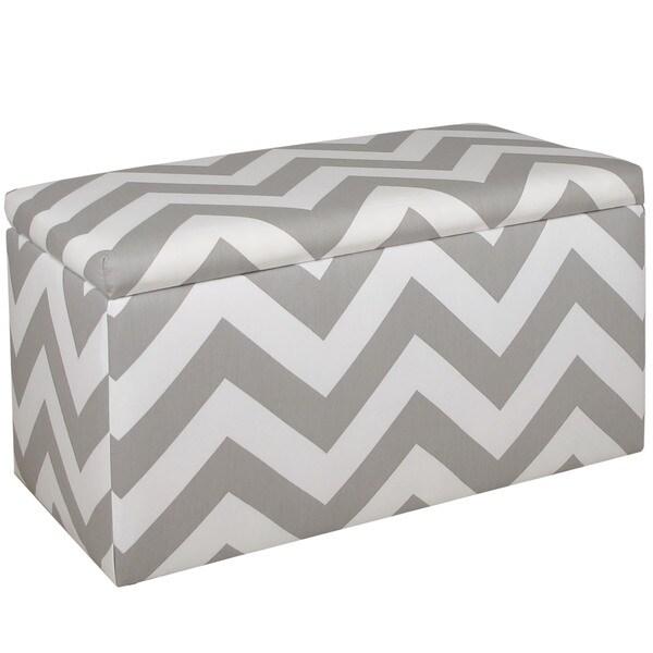 Skyline Furniture Grey Cotton Abstract Storage Bench
