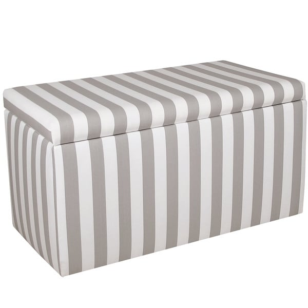 Skyline Furniture Grey/White Striped Storage Bench