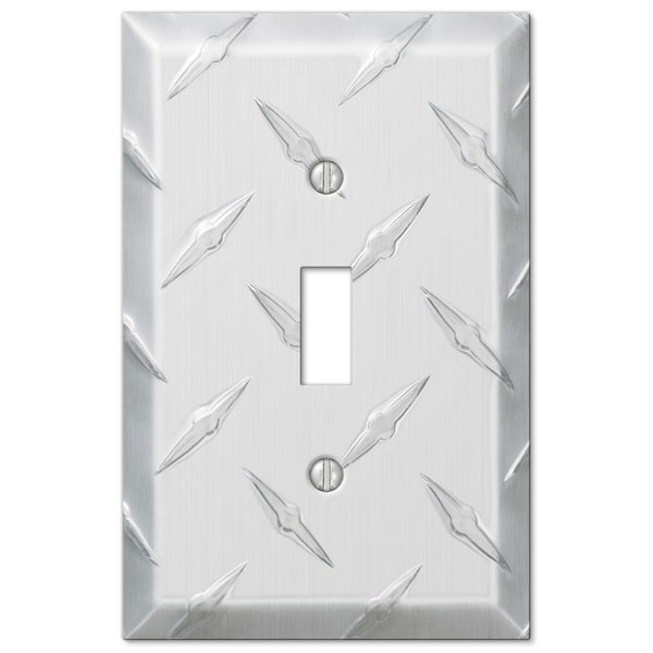 Amertac 955T 1 Toggle Diamond Stamped Aluminum Wallplate 19041685