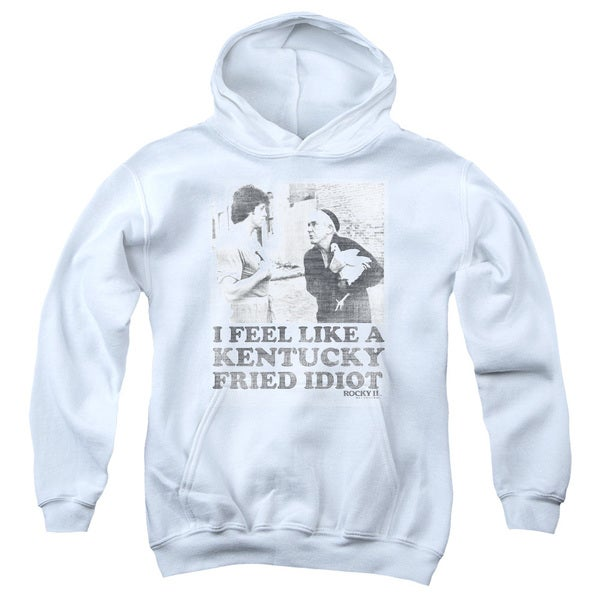Rocky/Fried Idiot Youth Pull-Over Hoodie in White