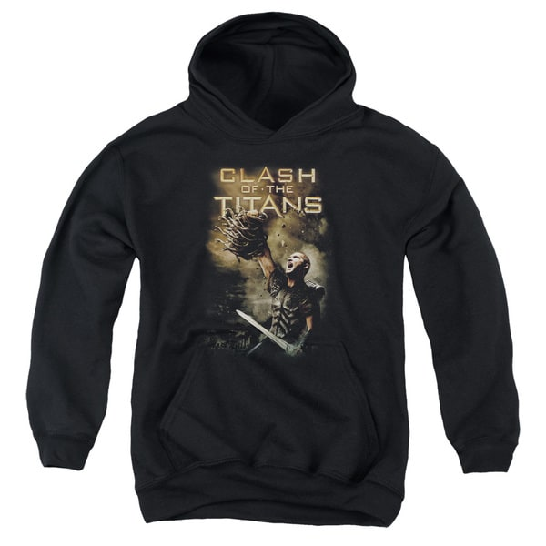 Clash Of The Titans/Medusa Head Youth Pull-Over Hoodie in Black