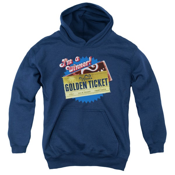 Chocolate Factory/Golden Ticket Youth Pull-Over Hoodie in Navy