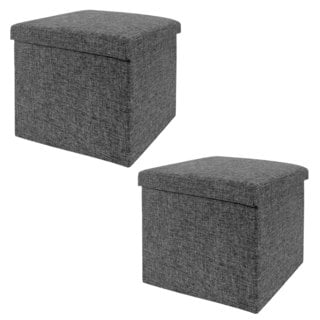 Seville Classics Charcoal Grey Foldable Storage Cube/Ottoman (Pack of 2)