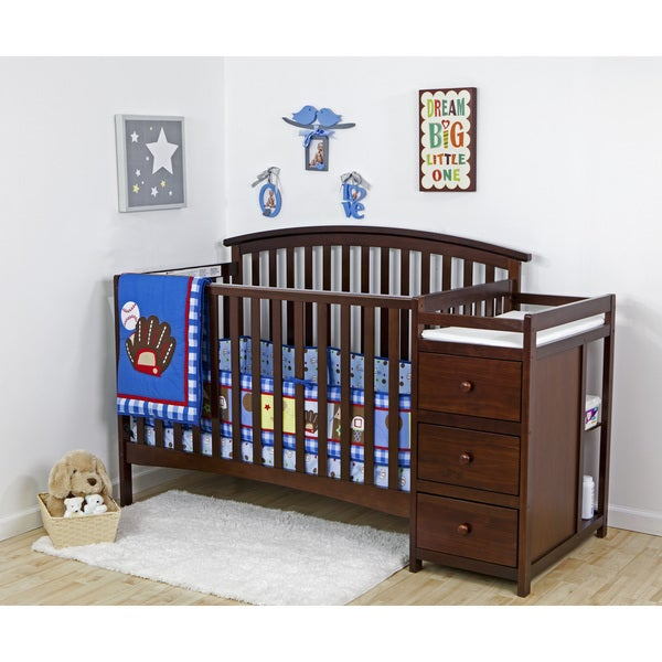 Dream On Me Niko Espresso Wood 5-in-1 Convertible Crib With Changer