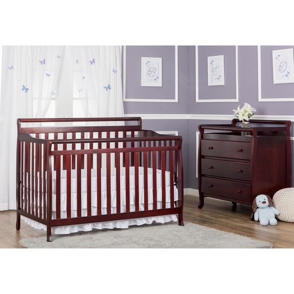 Dream On Me Brody Cherry Wood 5-in-1 Convertible Crib