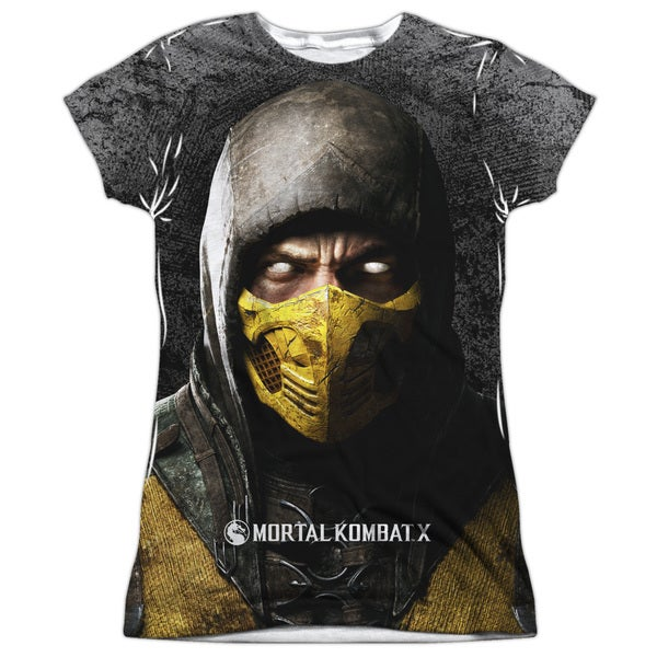 Mortal Kombat X/Finish Him Short Sleeve Junior Poly Crew in White