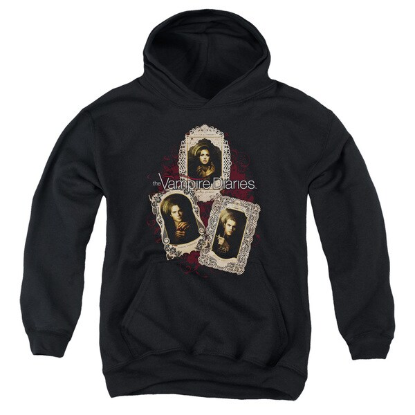 Vampire Diaries/Holy Cards Youth Pull-Over Hoodie in Black