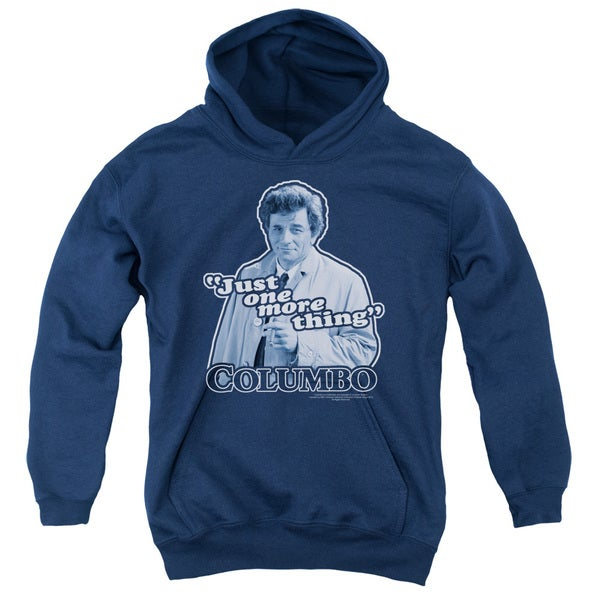 Columbo/Just One More Thing Youth Pull-Over Hoodie in Navy