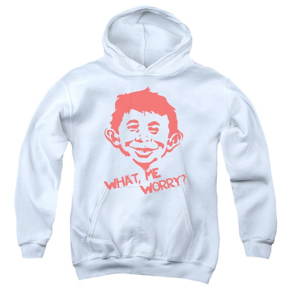 Mad/What Me Worry Youth Pull-Over Hoodie in White