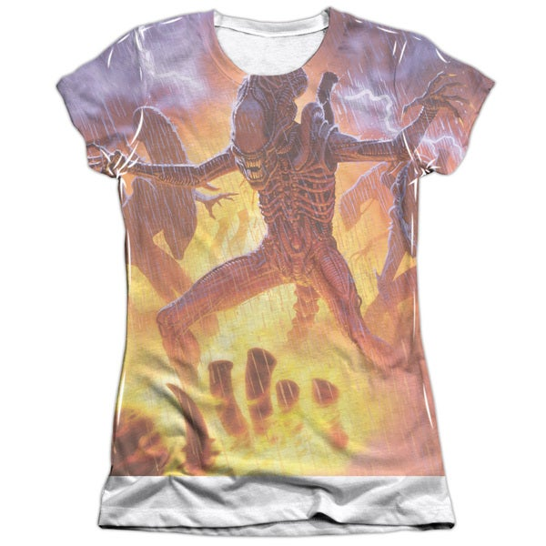 Alien/Lightning and Fire Short Sleeve Junior Poly/Cotton Crew in White