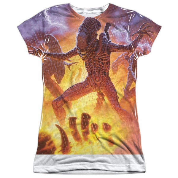 Alien/Lightning and Fire (Front/Back Print) Short Sleeve Junior Poly Crew in White