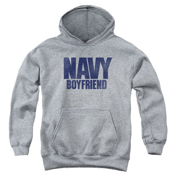 Navy/Boyfriend Youth Pull-Over Hoodie in Heather