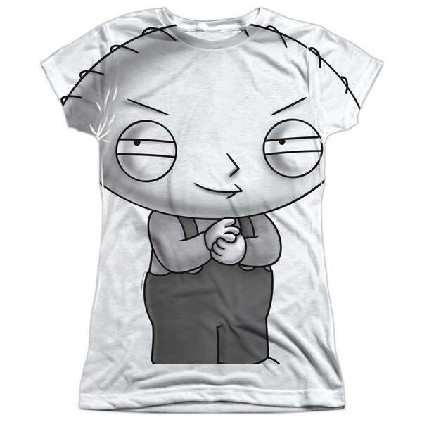 Family Guy/Stewie Head Short Sleeve Junior Poly Crew in White
