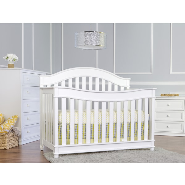 Mia Moda Parkland White Wood Convertible Crib