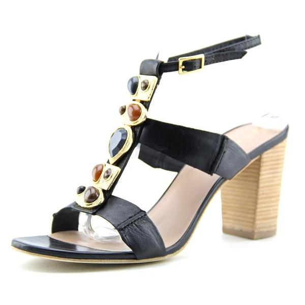 Trina Turk Women's Silver Lake Black Leather Sandals
