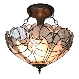 Amora Lighting Mahogany-finished Glass Tiffany-style Ceiling Fixture