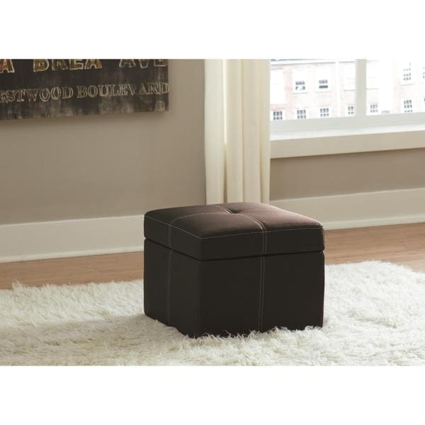 DHP Delaney Black Small Square Ottoman 19043331