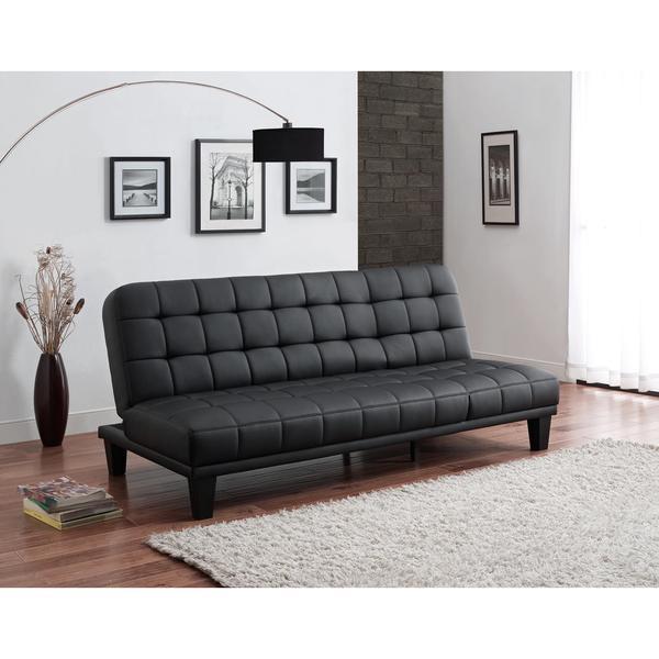 DHP Metropolitan Black Faux Leather Futon Lounger