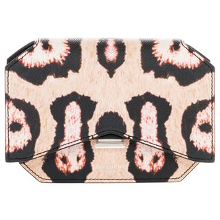 Givenchy Bow Cut Leopard-Print Textured Leather Shoulder Bag with Chain Strap