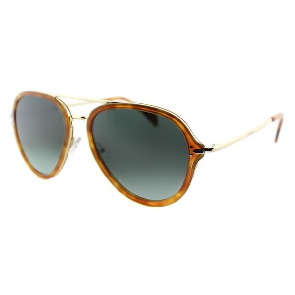 Celine CL 41374 UFP Light Havana And Gold Aviator Sunglasses Blue Gradient Lens