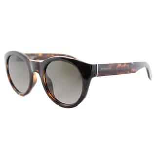 Givenchy GV 7003 LSD Dark Havana Plastic Round Sunglasses Brown Gradient Lens