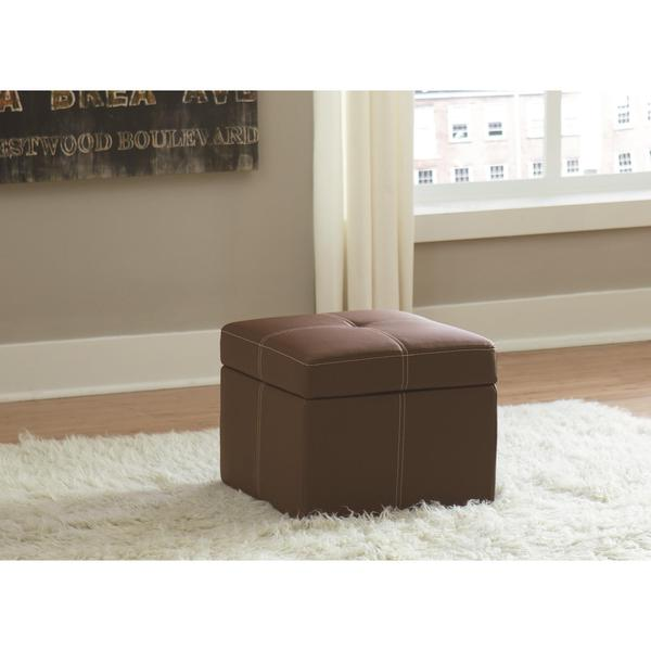 DHP Delaney Brown Small Square Ottoman 19043570