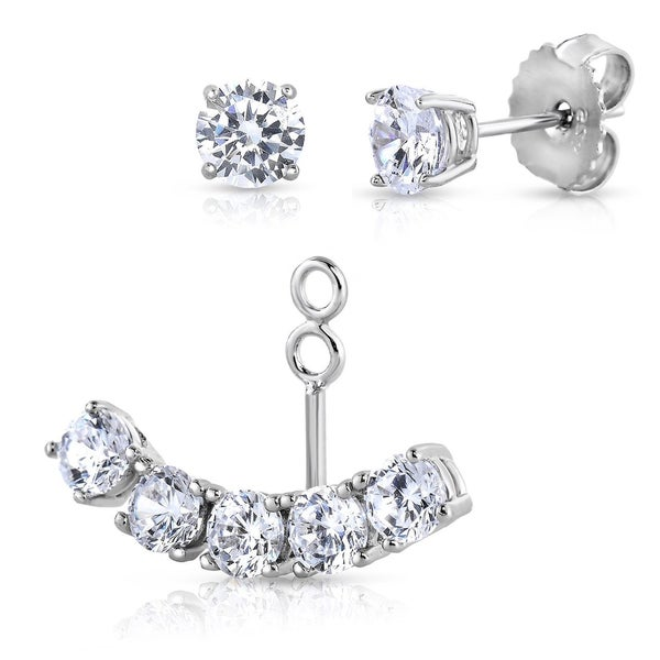 Fremada Rhodium Plated Sterling Silver and Cubic Zirconia Two-in-one Stud and Ear Jacket Cuff Earrings