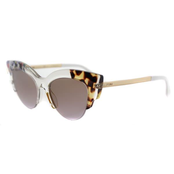 Fendi FF 0179 TKT Jungle Crystal Gold Plastic Square Sunglasses Brown Gradient Lens
