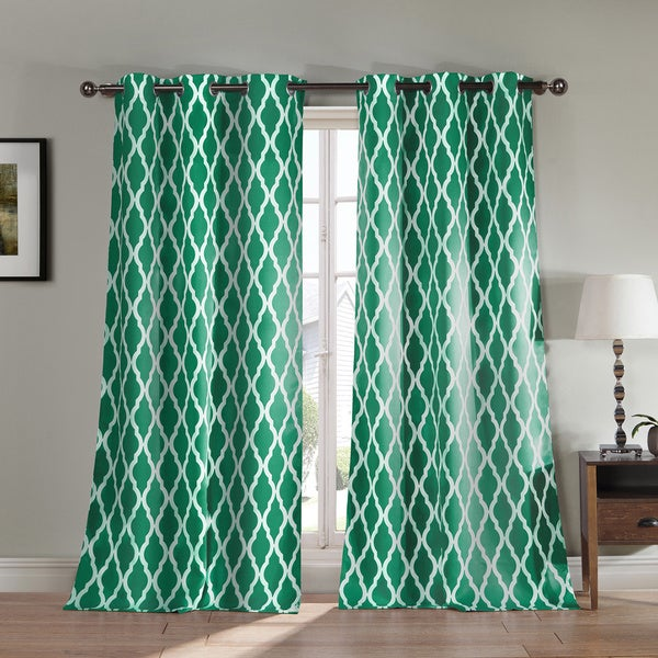 Donna Geometric Print Polyester Blackout Curtain Panel Pair (As Is Item)