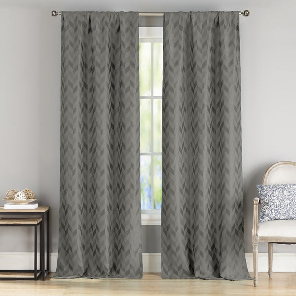 Duck River Joyce Black/Grey/Green/Metallic Polyester Blackout Curtain Panel Pair