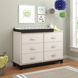 Altra Leni White and Coffee House Plank 6 Drawer Dresser with Changing Table