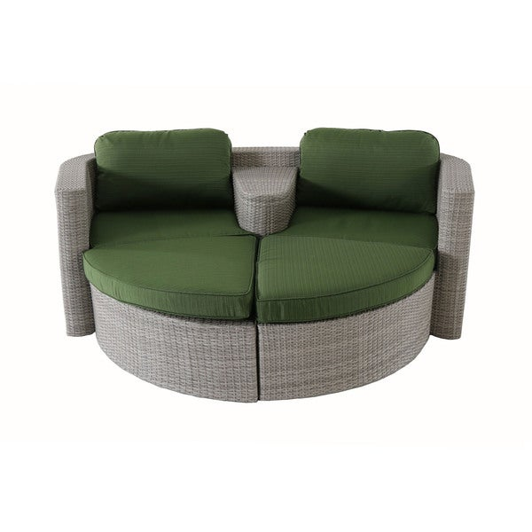 Cambridge Decatur Green Aluminum Wicker 3-piece Patio Furniture Set