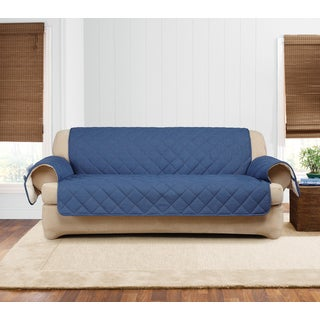 Sure Fit Quilted Denim Sherpa Sofa Furniture Protector