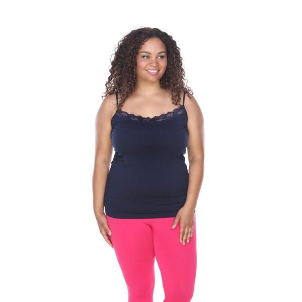 White Mark Women's Plus Size Lace-trim Cami